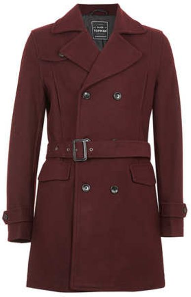 Topman Burgundy Wool Mix Trench Coat In Brown For Men Red