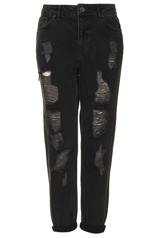 Topshop Moto Black Rip Jeans In Black