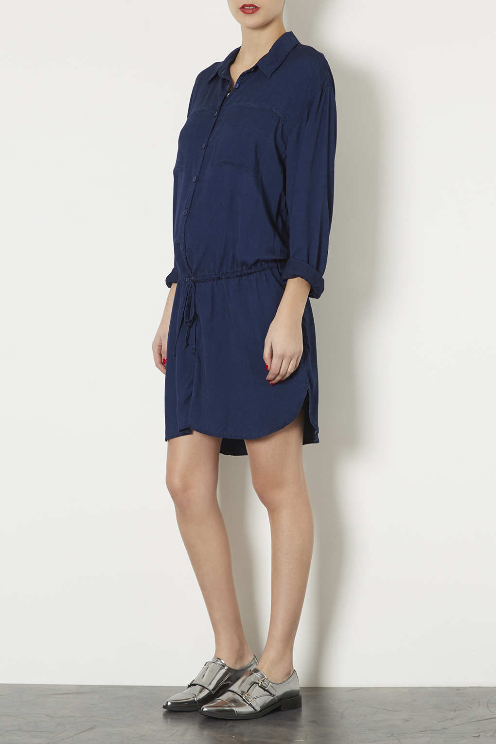 Lyst topshop maternity denim shirt dress in blue for Womens denim shirts topshop