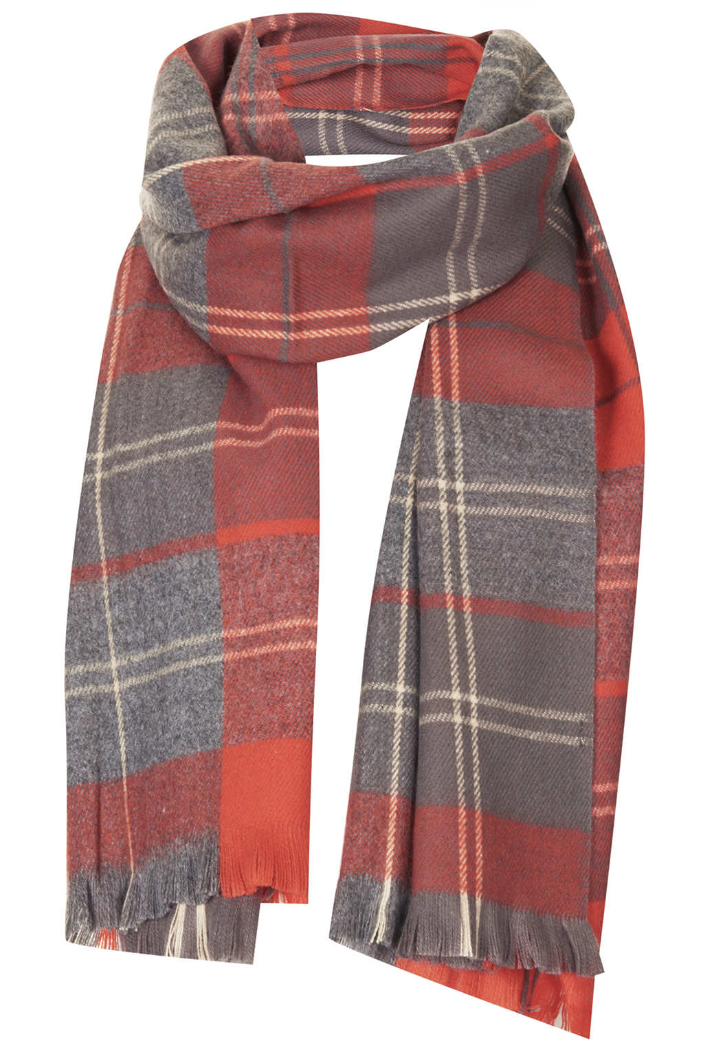 e1a2543ef Lyst - TOPSHOP Small Traditional Check Scarf in Red