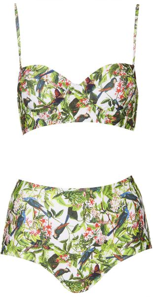 Topshop Leaf and Bird Print Bikini - Lyst