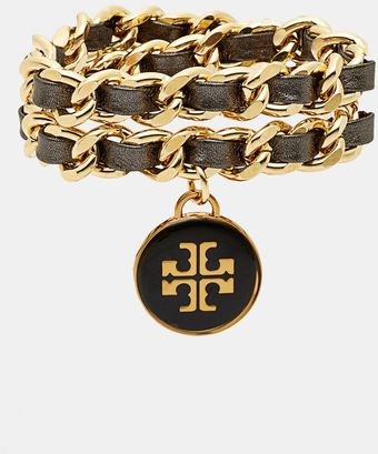 Tory Burch Leather Woven Chain Wrap Bracelet - Lyst