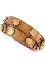Tory Burch Logostudded Snakeembossed Wrap Bracelet Gold - Lyst
