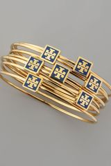 Tory Burch Navy Enamellogosquare Bangles Set Of 7 - Lyst