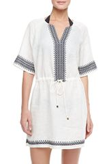 Tory Burch Skye Embroidered Linen Coverup Dress - Lyst