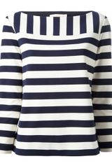 Tory Burch Striped Boat Neck Top - Lyst