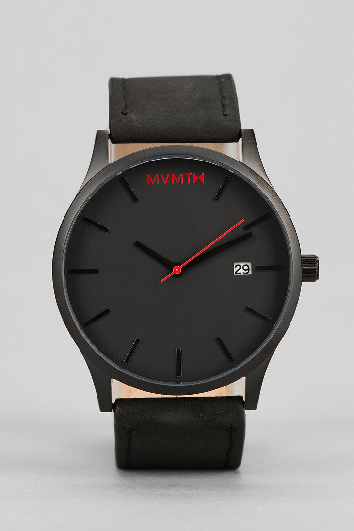 Mvmt classic leather watch in black for men lyst for Mvmt watches