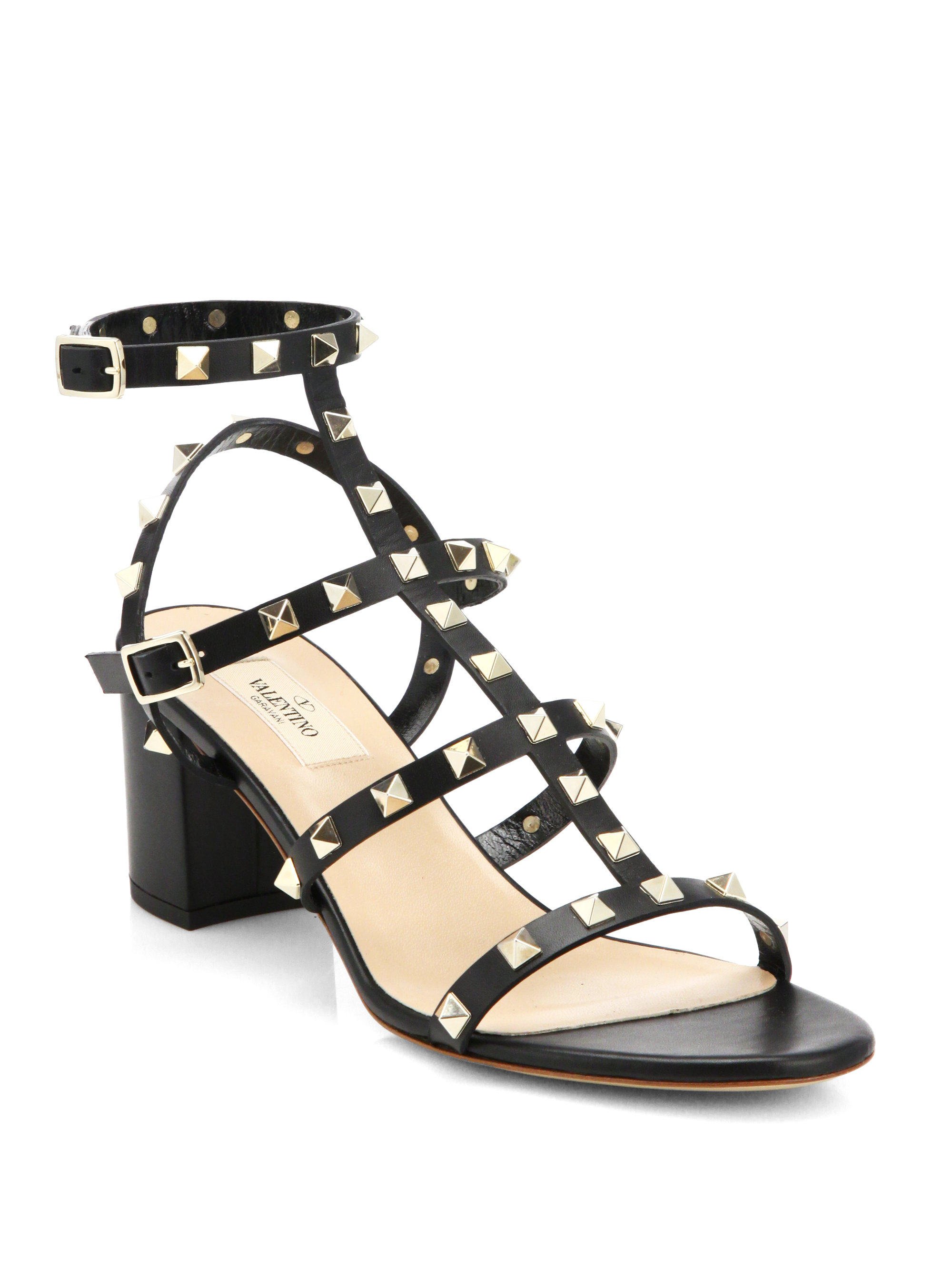valentino rockstud leather sandals in black lyst