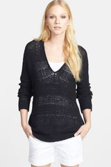 Vince Open Knit Cotton Blend Sweater - Lyst