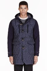 White Mountaineering Navy and Charcoal Quilted Windstopper Jazz Duffle Coat - Lyst