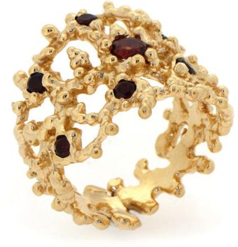 Arosha Luigi Taglia Coral Gold Ring with Garnets - Lyst