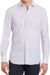 Barneys New York Striped Spread Collar Shirt - Lyst