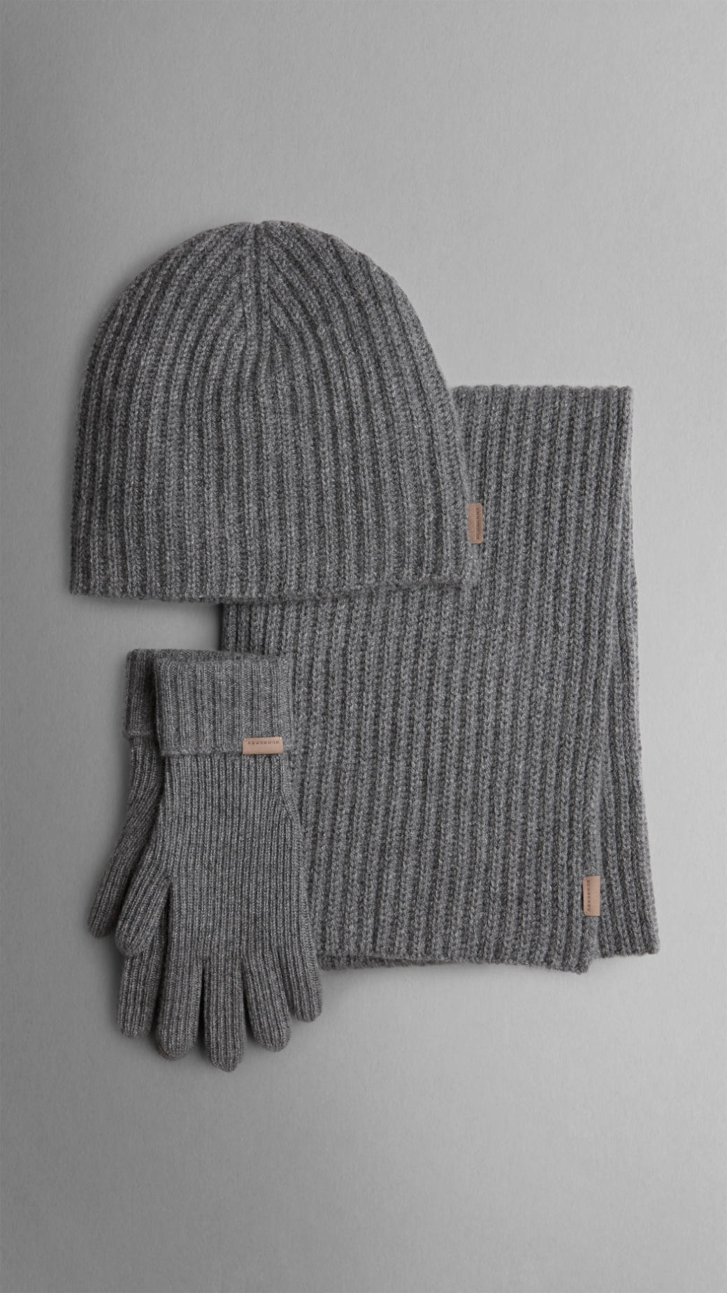 2ef337a6343 ... new zealand lyst burberry cashmere ribbed knit hat gloves and scarf set  in 62486 0147b