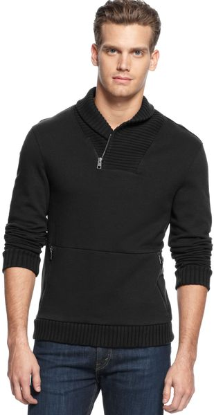 Calvin Klein Long Sleeve Shawl Collar Zip Front Shirt - Lyst