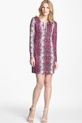 Diane Von Furstenberg Reina Snake Print Silk Shift Dress - Lyst