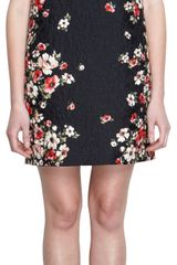 Dolce & Gabbana Floral Brocade and Print Shift Dress - Lyst
