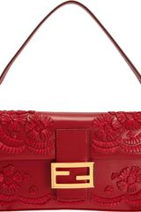 Fendi Stitched Leather Flowers Baguette Bag - Lyst