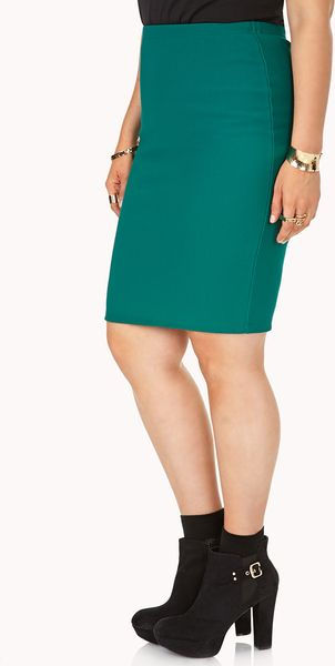 forever 21 posh ribbed pencil skirt in green emerald lyst
