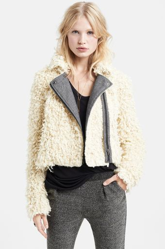 Free People Faux Fur Moto Jacket - Lyst