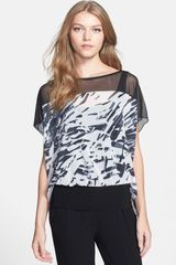 Komarov Mixed Media Print Top With Tank - Lyst