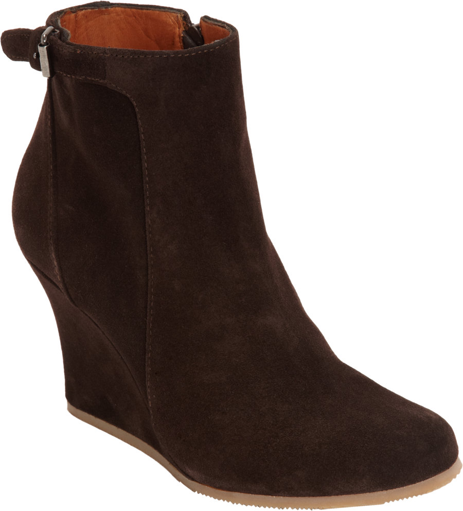 lanvin suede wedge ankle boot in brown lyst