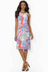 Lauren by Ralph Lauren Sleeveless Paisley Dress - Lyst