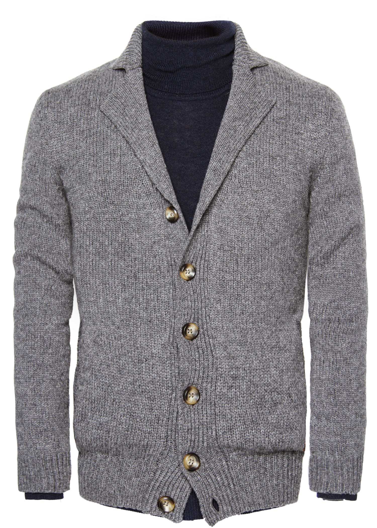 Mango Chunky Knit Woolblend Cardigan in Gray for Men | Lyst