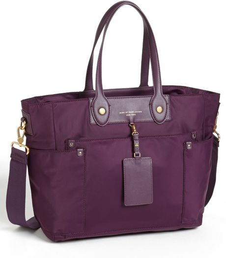 marc by marc jacobs preppy nylon elizababy diaper bag in purple pansy purple. Black Bedroom Furniture Sets. Home Design Ideas
