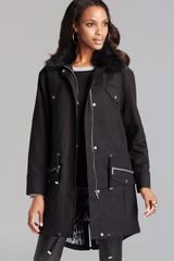 Michael by Michael Kors Anorak with Faux Fur Trim - Lyst