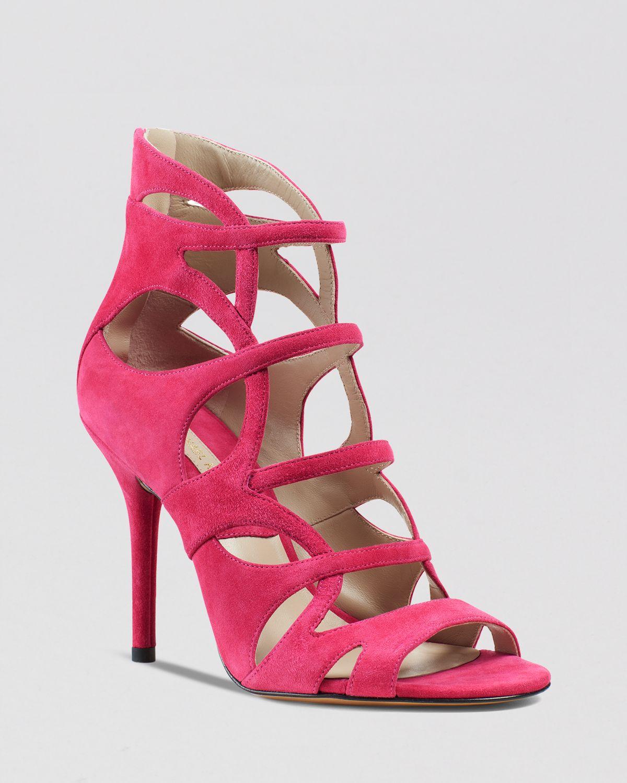 michael kors caged sandals casey strappy high heel in. Black Bedroom Furniture Sets. Home Design Ideas