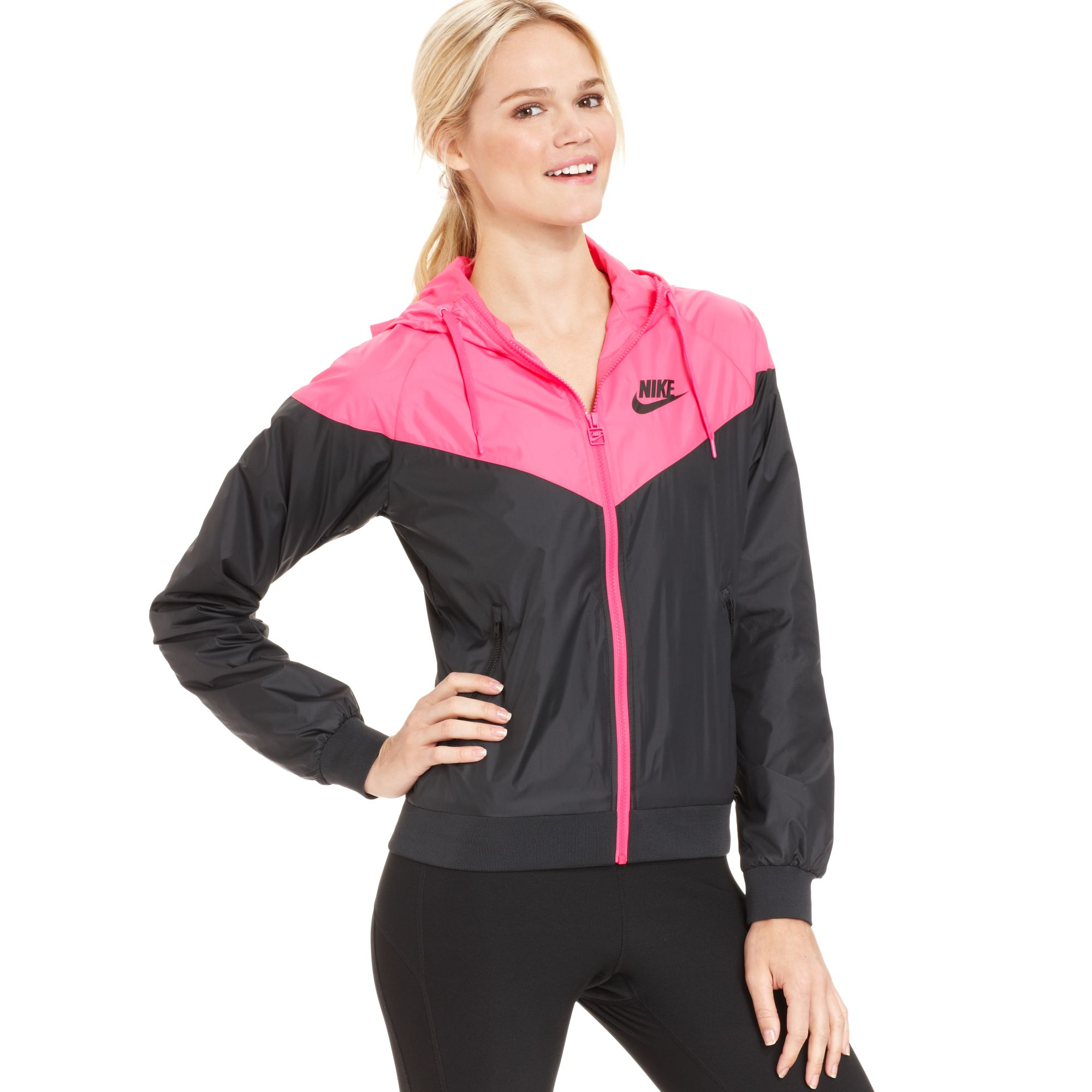 nike colorblocked hooded windrunner jacket in pink lyst. Black Bedroom Furniture Sets. Home Design Ideas