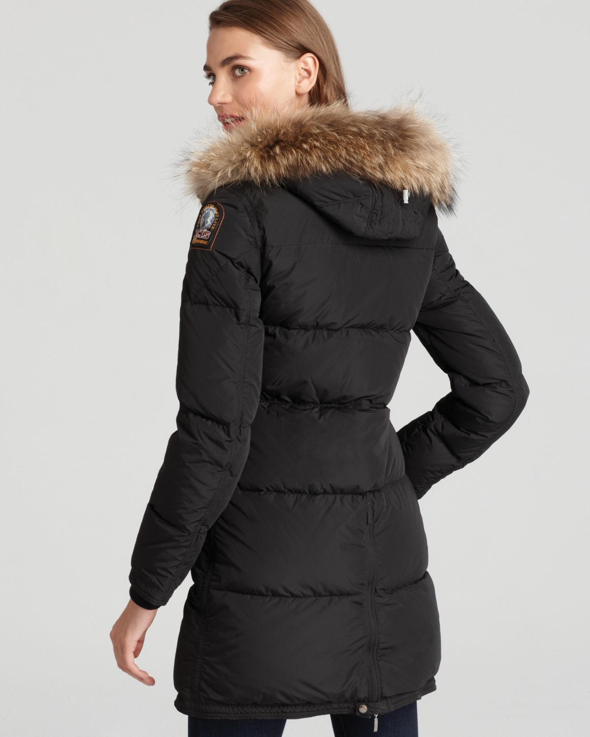 1e62dcbb37 Parajumpers Long Bear Down Coat with Fur Hood in Black - Lyst