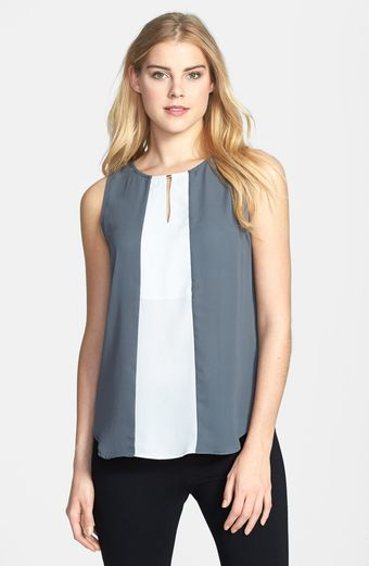 Pleione Colorblock Keyhole Detail Sleeveless Shell - Lyst