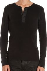 Ralph Lauren Black Label Denim Distressed Seam Long Sleeve Slub Henley - Lyst