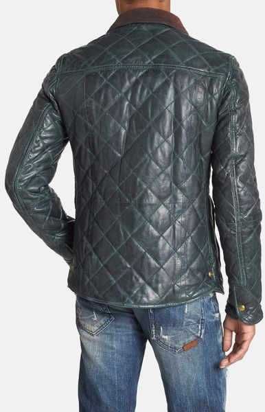 scotch soda quilted leather jacket in green for men. Black Bedroom Furniture Sets. Home Design Ideas