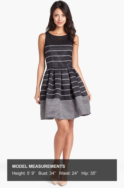 Taylor Dresses Polka Dot Stripe Fit Flare Dress In Gray
