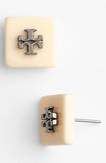 Tory Burch Logo Square Stud Earrings - Lyst