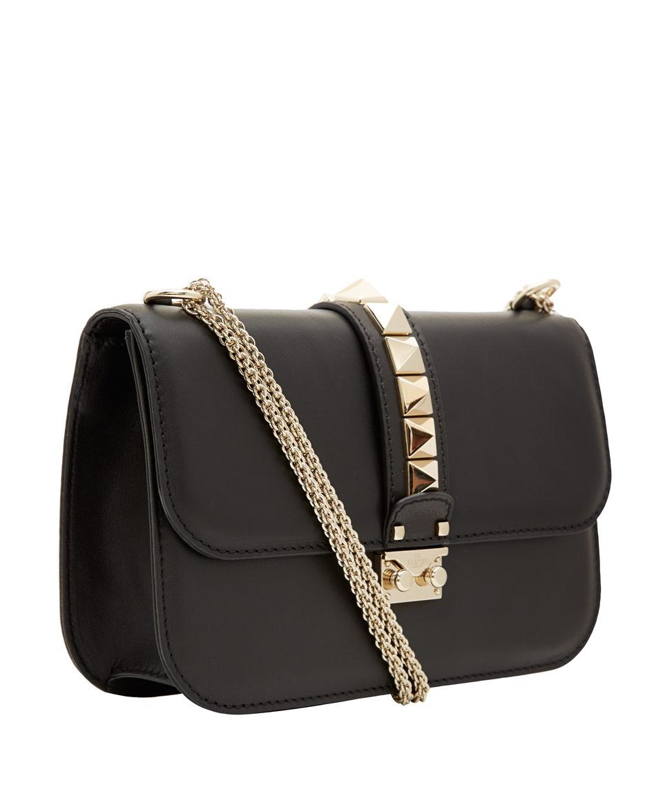 lyst valentino medium black lock leather bag in black. Black Bedroom Furniture Sets. Home Design Ideas
