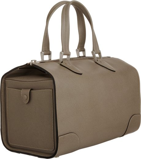 Valextra Medium Boston Bag in Brown (silver)