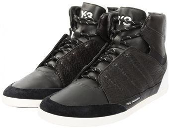 Y-3 Honja High Textured Leather Trainers  - Lyst
