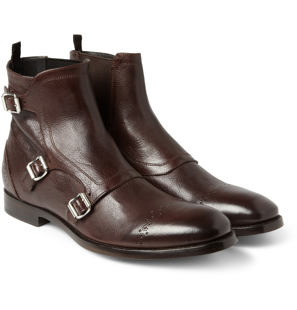Lyst Alexander Mcqueen Triple Monkstrap Brogue Boots In