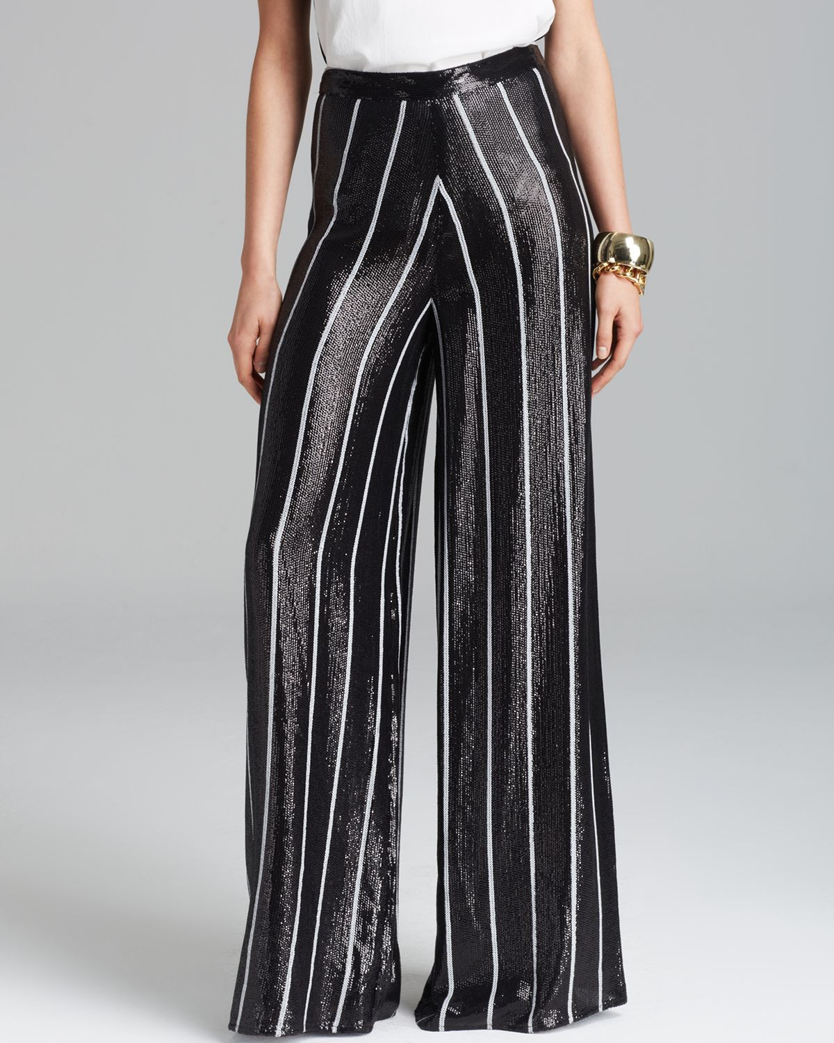 Alice   olivia Alice Olivia Pants Sequin Wide Leg in Black | Lyst