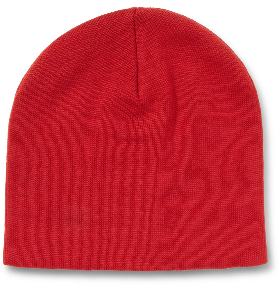 AMI Merino Wool Beanie Hat in Red for Men - Lyst 00034d277c7