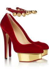Charlotte Olympia Jingle Bell Dolly Velvet Platform Pumps - Lyst