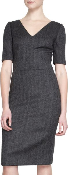 Dolce & Gabbana Short Sleeve V-Neck Sheath Dress - Lyst
