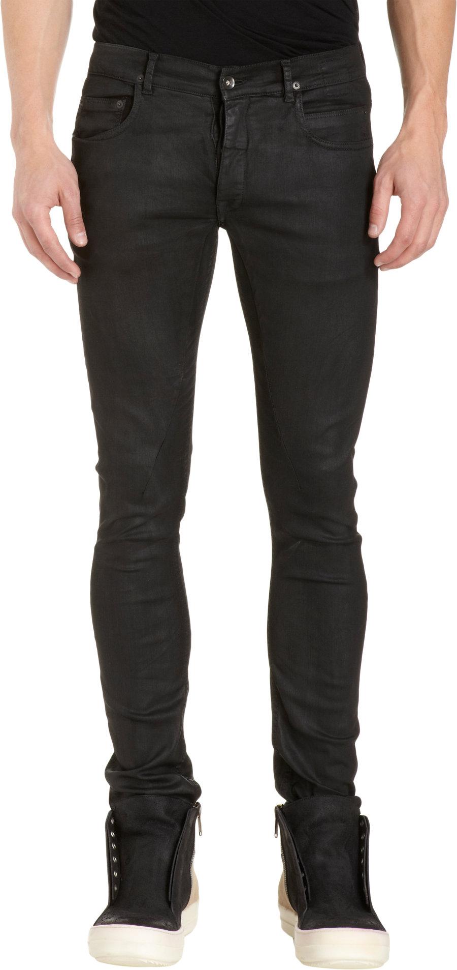 Rick Owens Drkshdw Waxed Detroit Cut Jeans In Black For