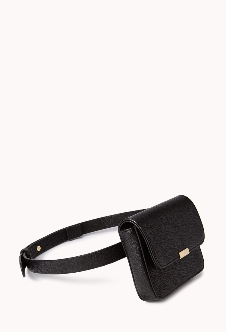3e529e8b08de Lyst - Forever 21 Remixed Faux Leather Fanny Pack in Black