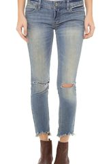 Free People Mid Rise Skinny Destroyed Jeans - Lyst