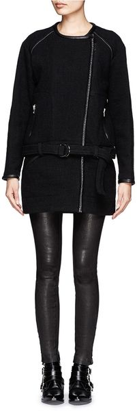 Iro Marily Leather Trim Wool Blend Coat - Lyst