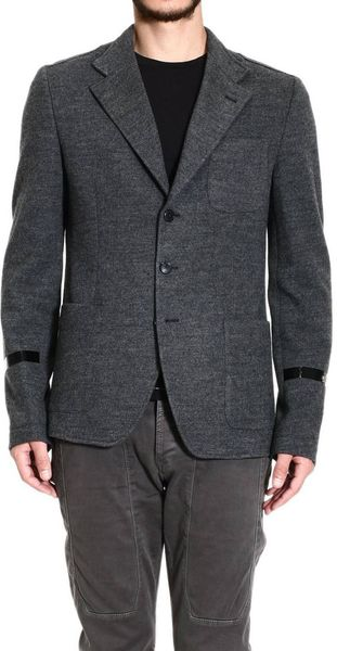John Richmond Jackets Wool Pockets Patches Thermo Welding Details - Lyst